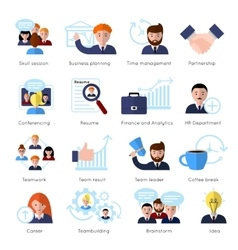 Teamwork Flat Icon Set vector image