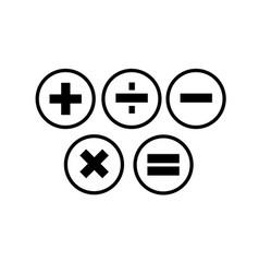 Tick cross plus minus icon set vector