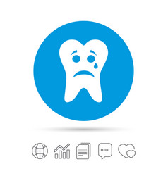 Tooth sad face with tear sign icon aching tooth vector