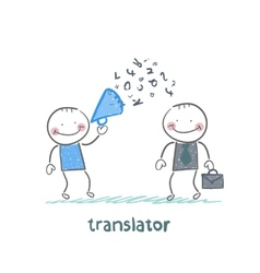 Translator listens as businessman shouting into a vector