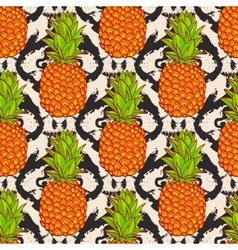 Tropical Pineapples Background vector