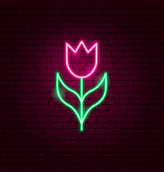 tulip neon sign vector image