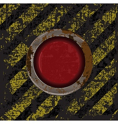 Vekton dirty old rusty red button on the scratched vector