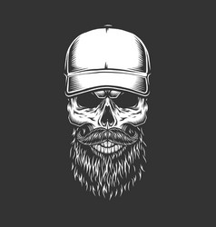 Vintage monochrome skull in baseball cap vector