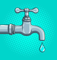 Water tap with drop pop art vector
