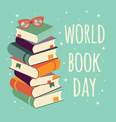 World book day stack of books with glasses vector