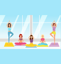 yoga class flat girls sitting vector image