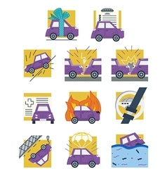 Auto insurance colored flat icons vector image vector image