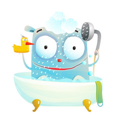 cute bathing monster with duck vector image