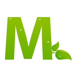 Green eco letter m illiustration vector
