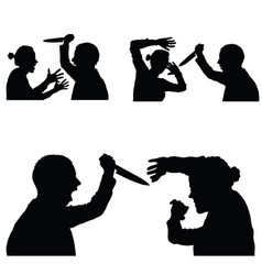 violence in family set with knife vector image