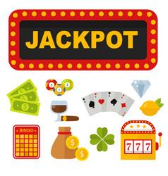 casino icons set with roulette gambler joker slot vector image