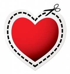 cut out heart red vector image vector image