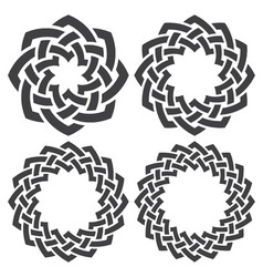 Set of celtic knotting rings 4 circular decorative vector