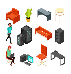 set of office isometric icons computers server vector image vector image