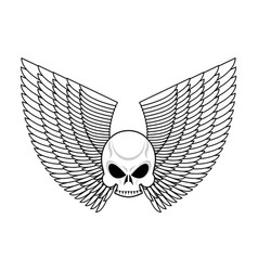 skull with wings emblem flying skeleton head logo vector image vector image