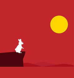 white rabbit on cliff with red background vector image vector image