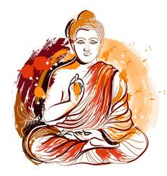 bddha hand drawn grunge style art vector image vector image