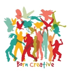 Creative people and sign isolate white vector image vector image