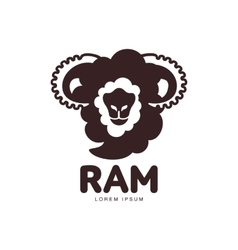 Front view silhouette ram sheep lamb head vector image vector image