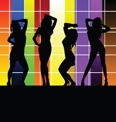 girl with color wall vector image vector image