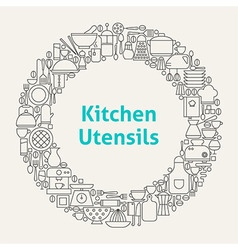 Kitchen Utensils Line Art Icons Set Circle vector image