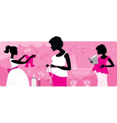 pregnant women silhouttes vector image vector image