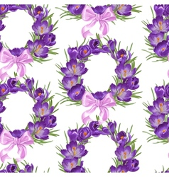 Seamless pattern from wreath of purple crocus vector image vector image