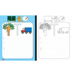 alphabet tracing worksheet vector image