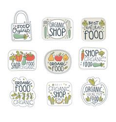 fresh healthy organic vegan food logo labels set vector image vector image