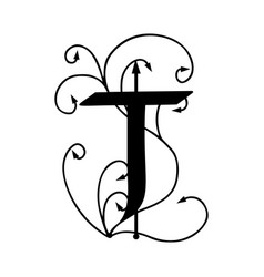 Letter t with arrows vector