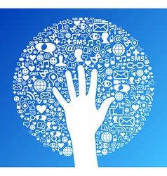 Social media network hand success vector image vector image