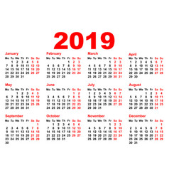 2019 year calendar template grid pocket horizontal vector image