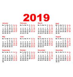 2019 year calendar template grid pocket horizontal vector