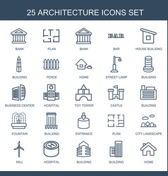 25 architecture icons vector