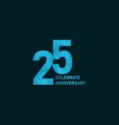 25 year anniversary aqua color template design vector