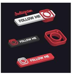 3d instagram follow me button vector