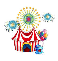 A circus tent with a monster in the front vector image