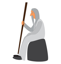 a monk sitting or color vector image