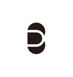 abstract letter d c negative space geometric logo vector image
