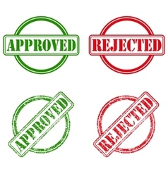 Approved and rejected ink stamps vector image