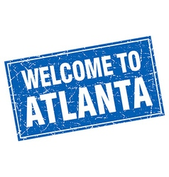 Atlanta blue square grunge welcome to stamp vector