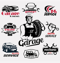 Auto service and garage retro emblems and labels vector