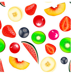 Background seamless vegetarian with fruits and vector