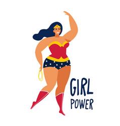 beautiful female superhero flat cartoon vector image