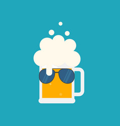beer mug with foam and sunglasses vector image