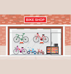 Bicycle stores exterior or bike shops interior vector