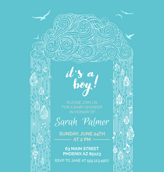 blue and white baby shower invitation template vector image