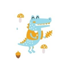 Blue crocodile in jacket holding oak leaf smiling vector