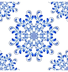 Blue Seamless Mandala Pattern in Gzhel vector